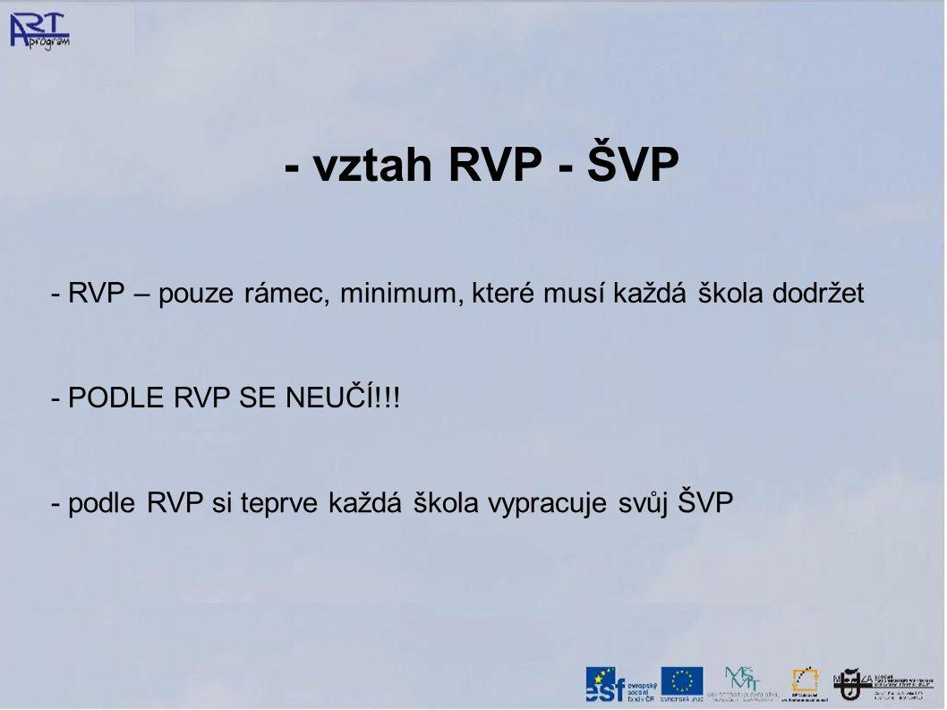 - vztah RVP - ŠVP - RVP – pouze rámec, minimum, které musí každá škola dodržet. - PODLE RVP SE NEUČÍ!!!