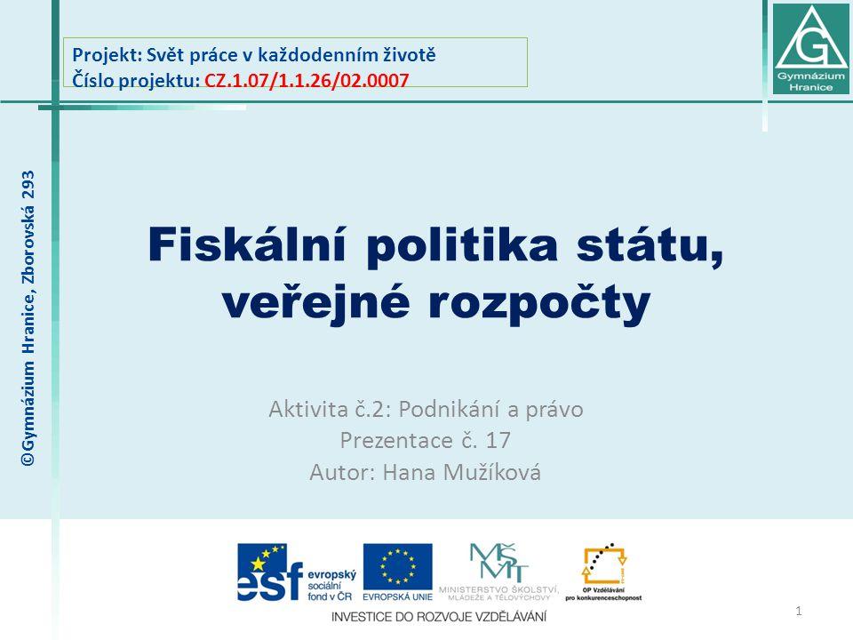 Fiskální politika státu, veřejné rozpočty
