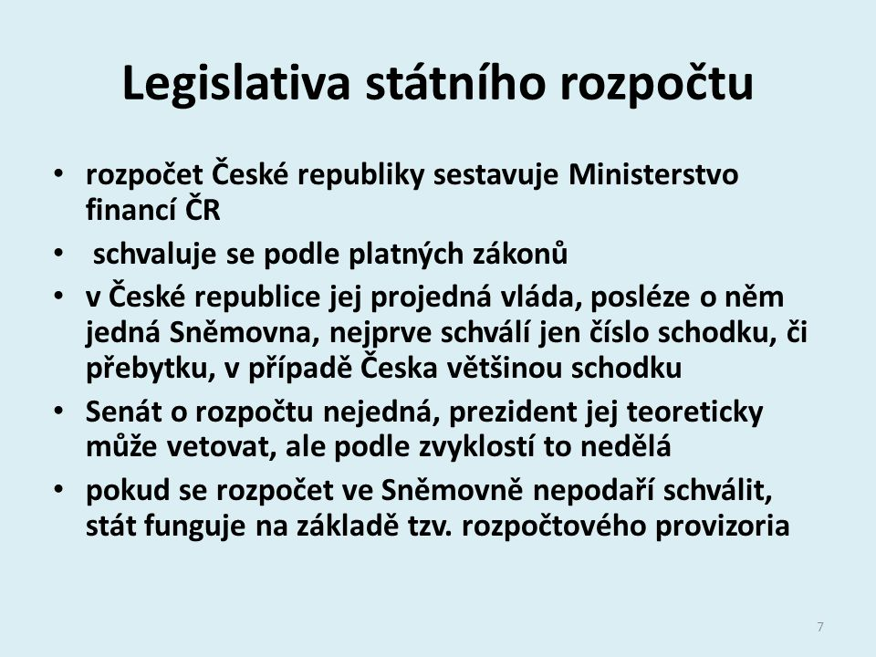 Legislativa státního rozpočtu