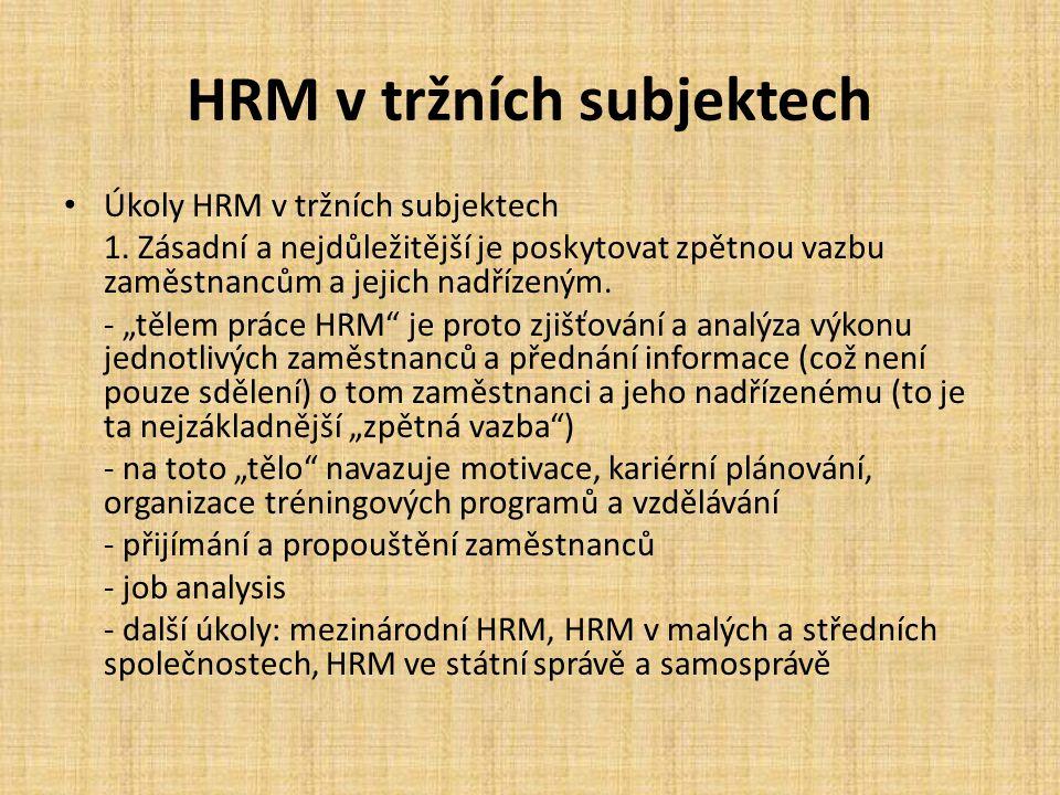 HRM v tržních subjektech
