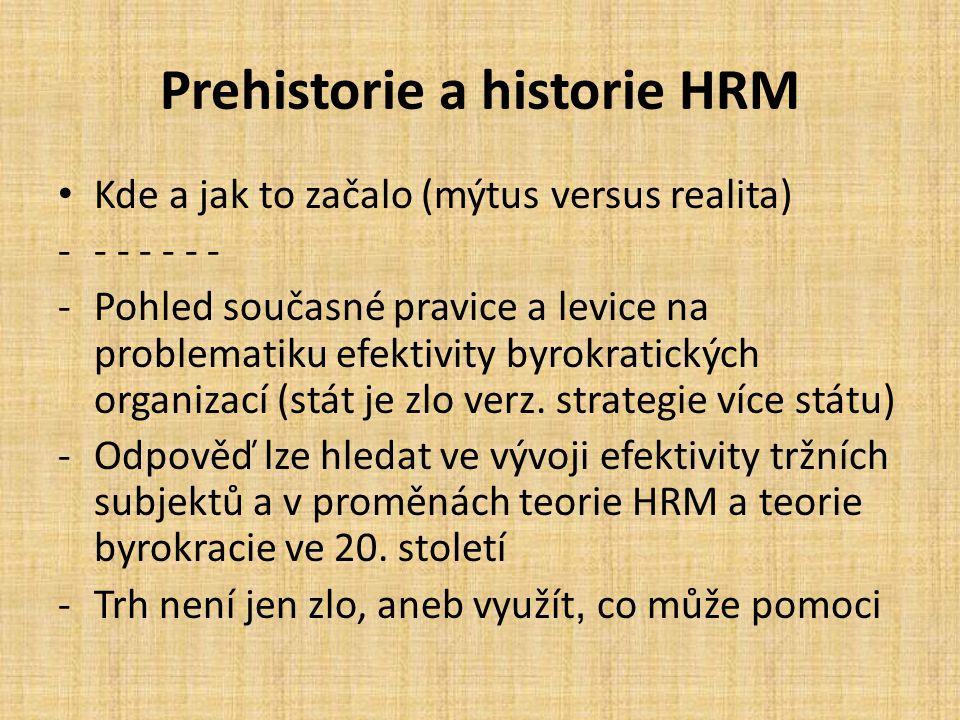 Prehistorie a historie HRM