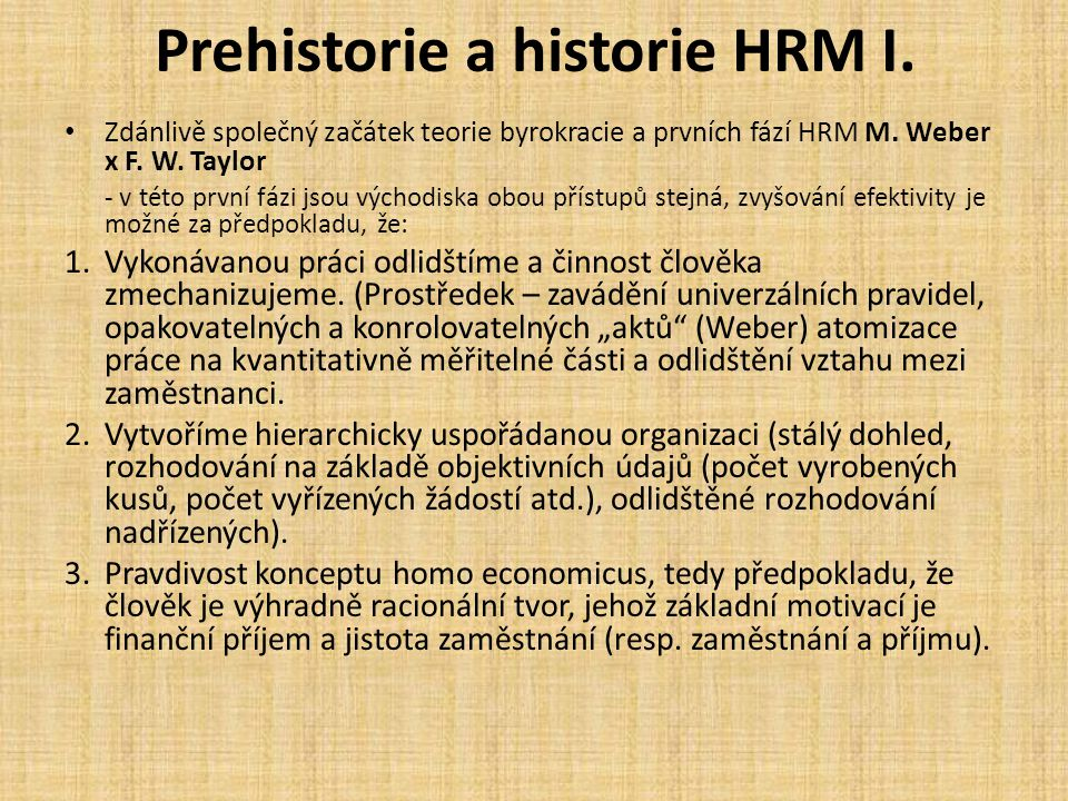 Prehistorie a historie HRM I.