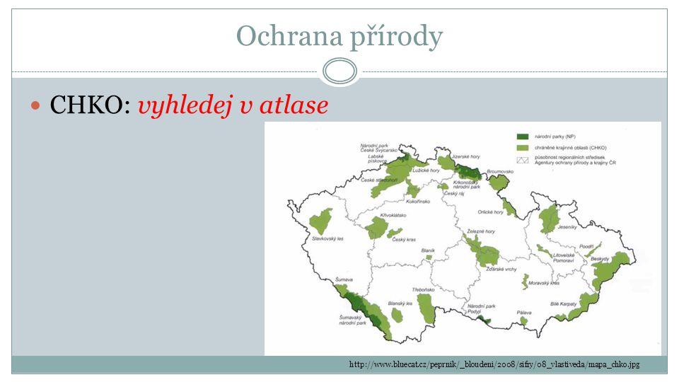 Ochrana přírody CHKO: vyhledej v atlase