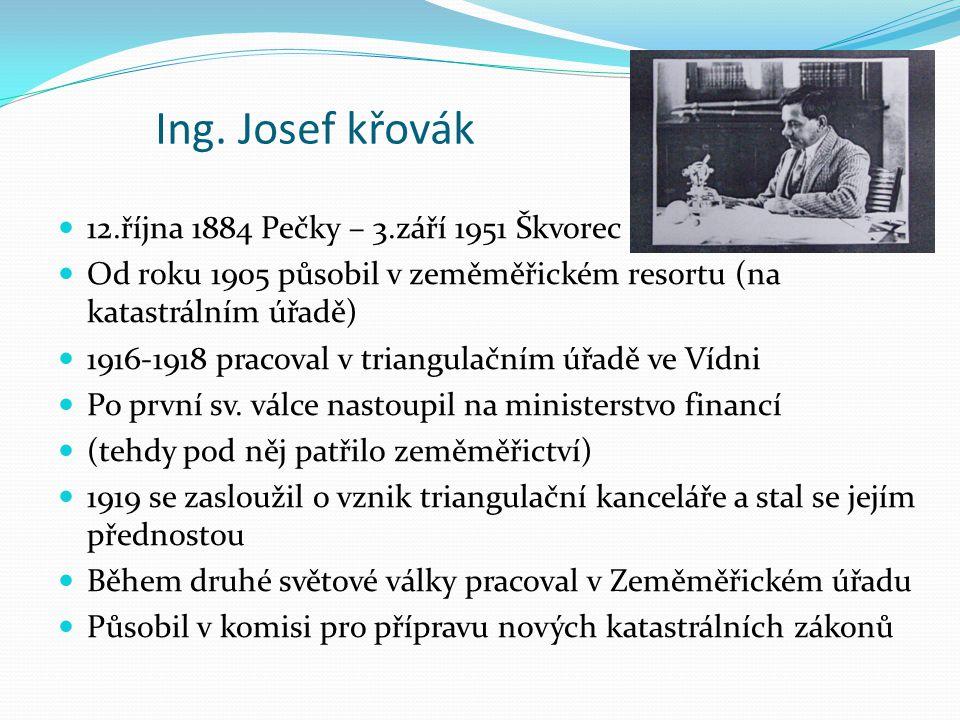 Ing. Josef křovák 12.října 1884 Pečky – 3.září 1951 Škvorec