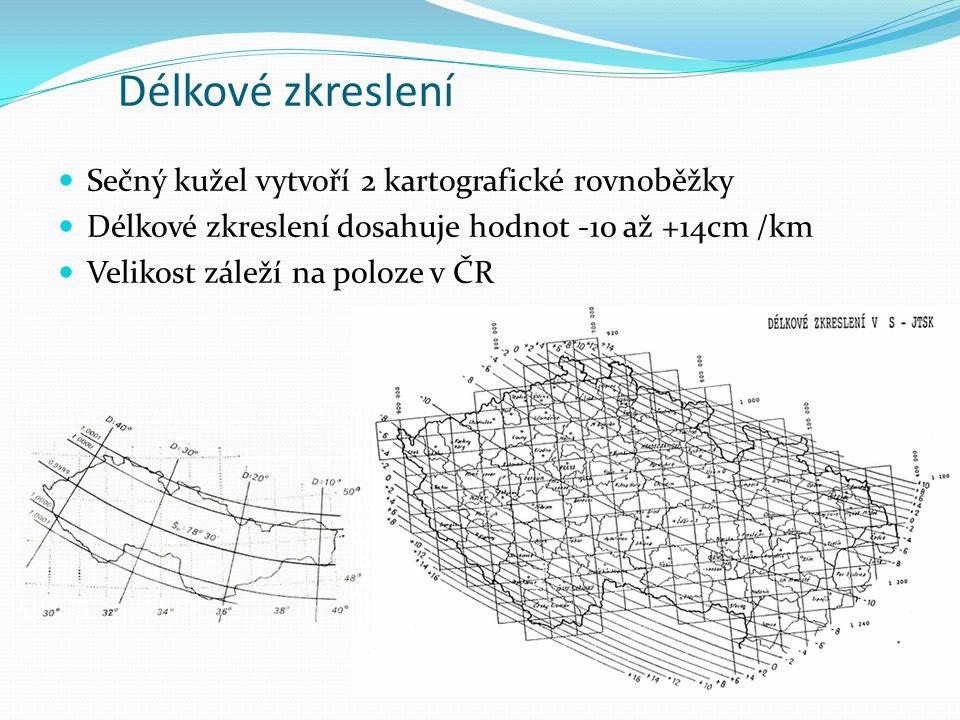 Délkové zkreslení Sečný kužel vytvoří 2 kartografické rovnoběžky