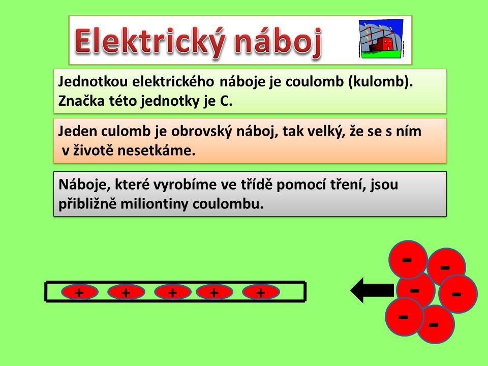 Elektrický náboj Jednotkou elektrického náboje je coulomb (kulomb). Značka této jednotky je C.