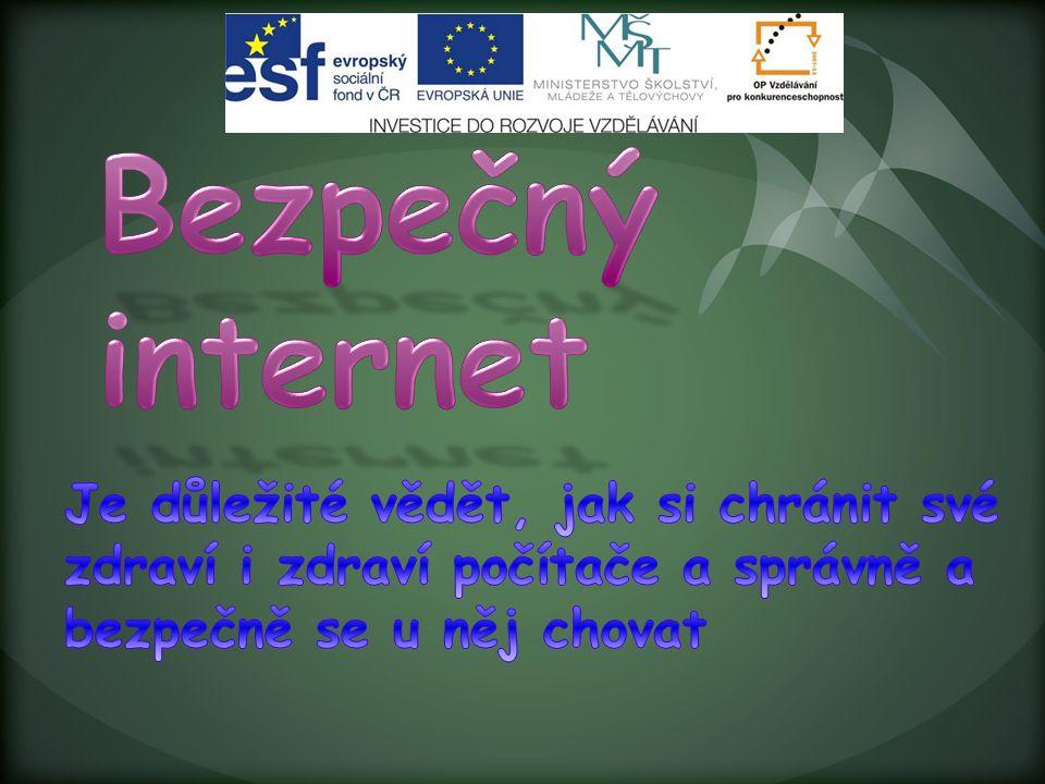 Bezpečný internet Je důležité vědět, jak si chránit své zdraví i zdraví počítače a správně a bezpečně se u něj chovat.