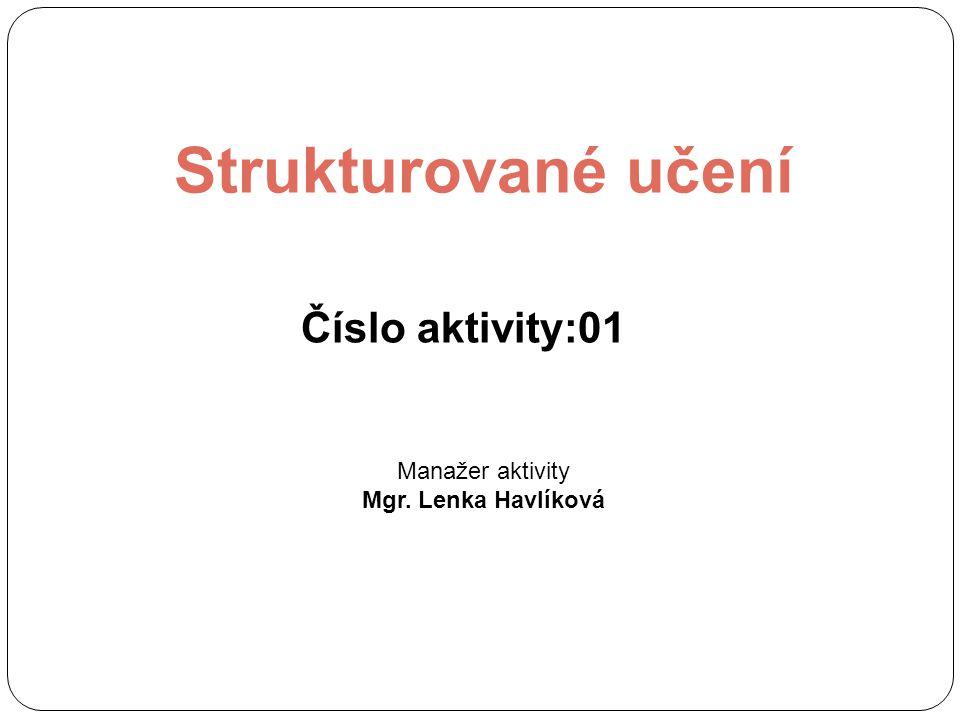 Strukturované učení Číslo aktivity:01 Manažer aktivity
