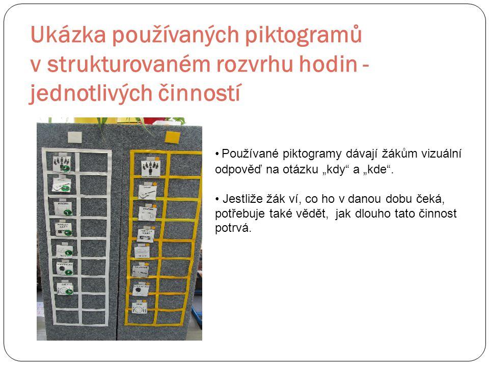 Ukázka používaných piktogramů v strukturovaném rozvrhu hodin - jednotlivých činností