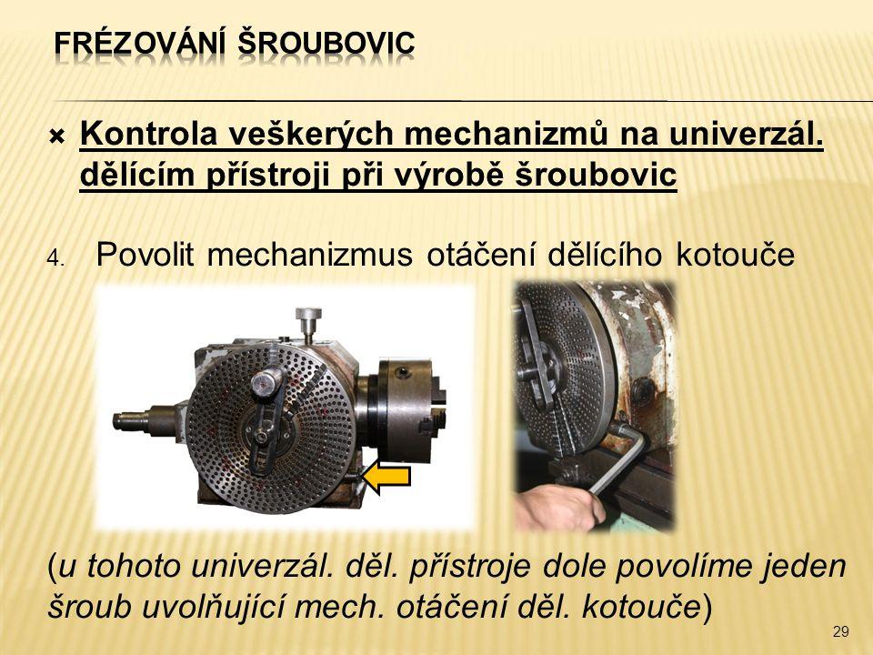 Povolit mechanizmus otáčení dělícího kotouče