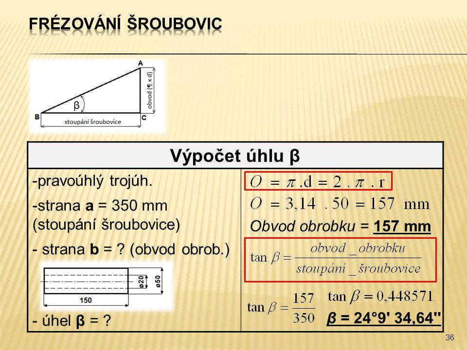 Výpočet úhlu β Frézování šroubovic pravoúhlý trojúh.