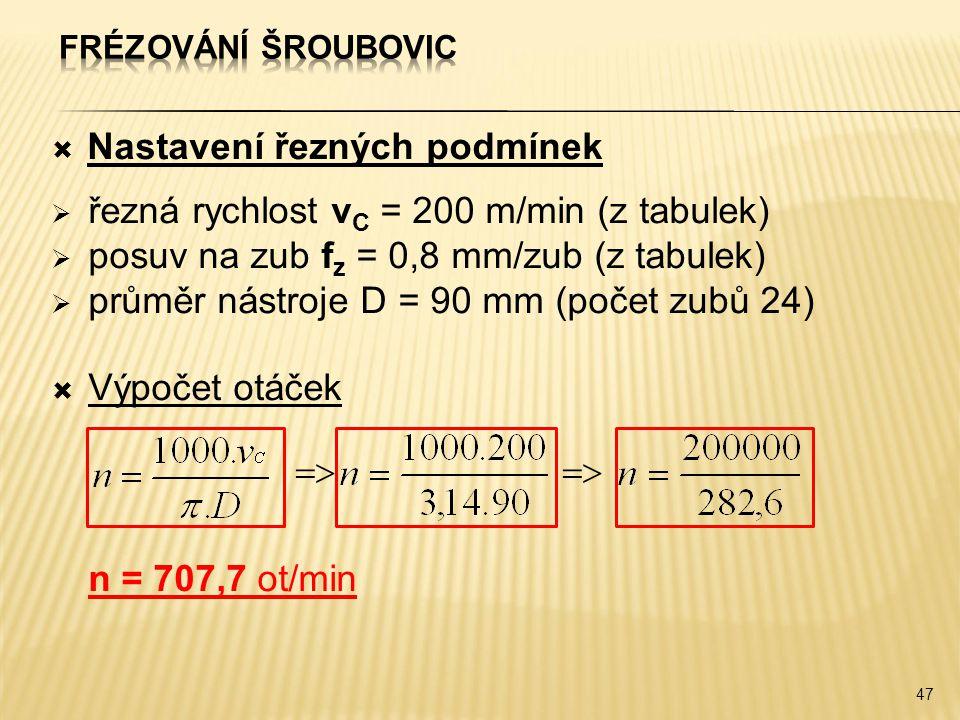 Nastavení řezných podmínek řezná rychlost vC = 200 m/min (z tabulek)