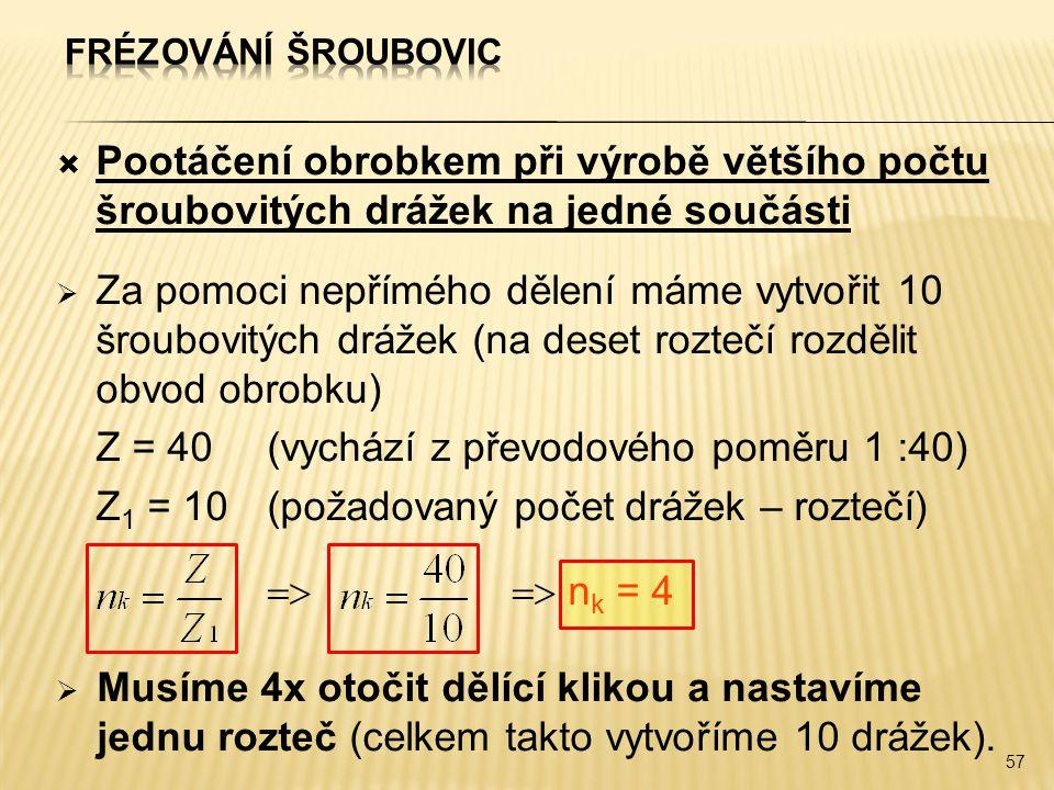 Z = 40 (vychází z převodového poměru 1 :40)