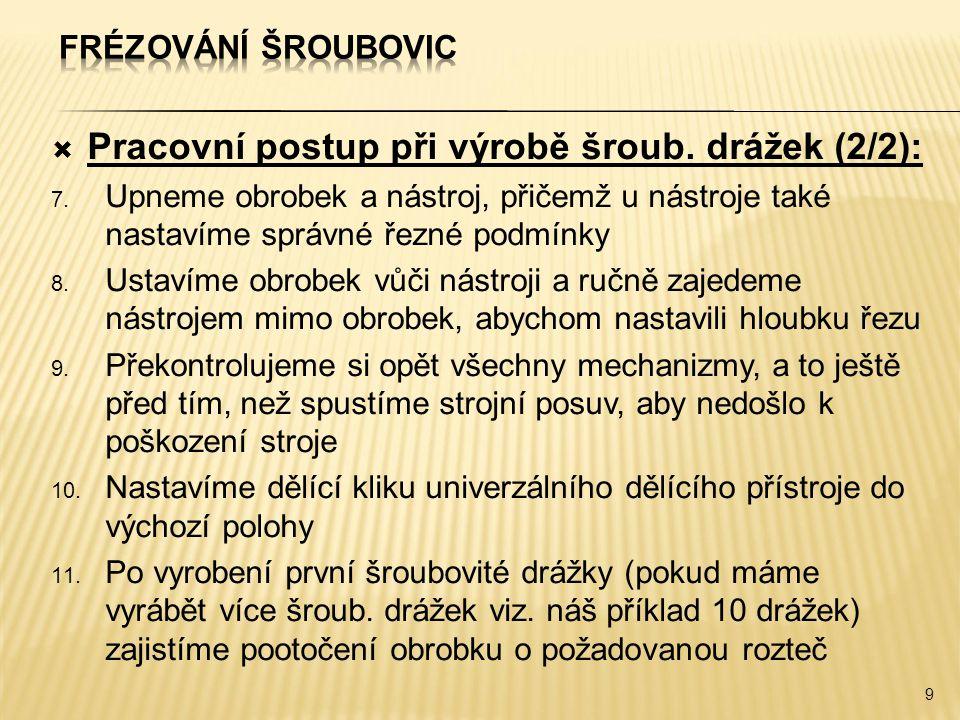 Pracovní postup při výrobě šroub. drážek (2/2):