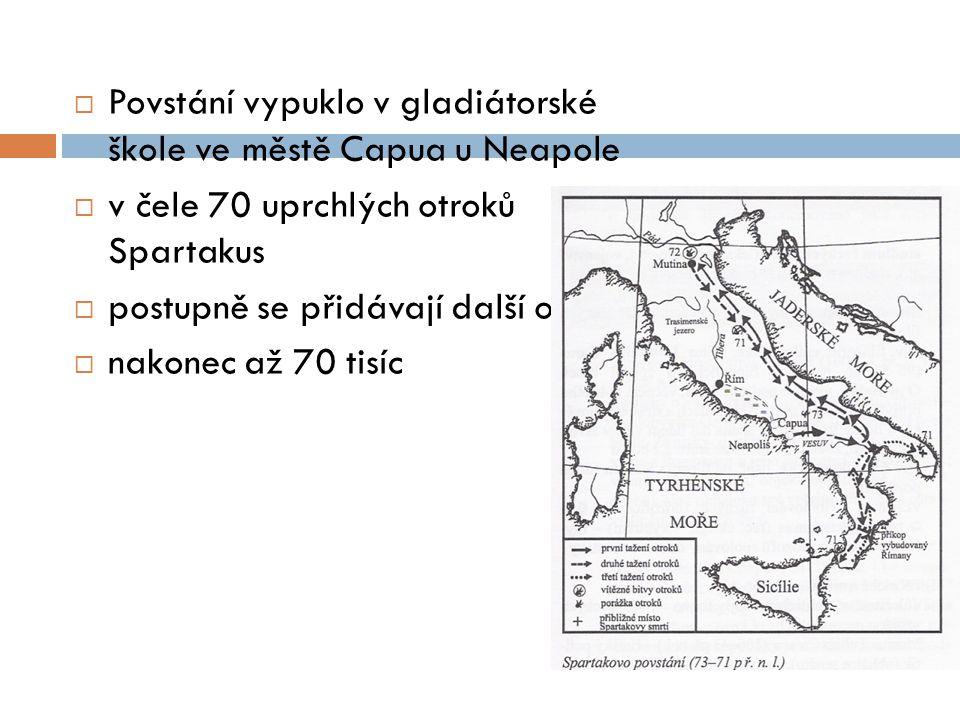 Povstání vypuklo v gladiátorské škole ve městě Capua u Neapole