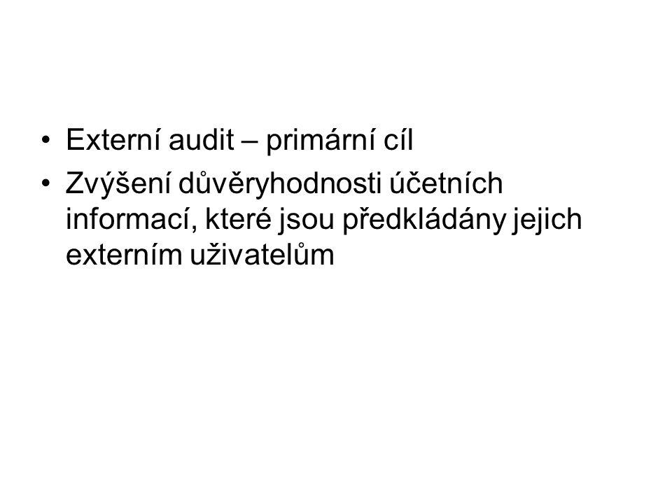 Externí audit – primární cíl