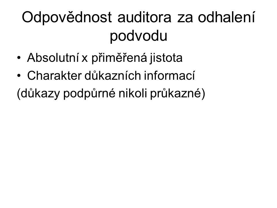 Odpovědnost auditora za odhalení podvodu