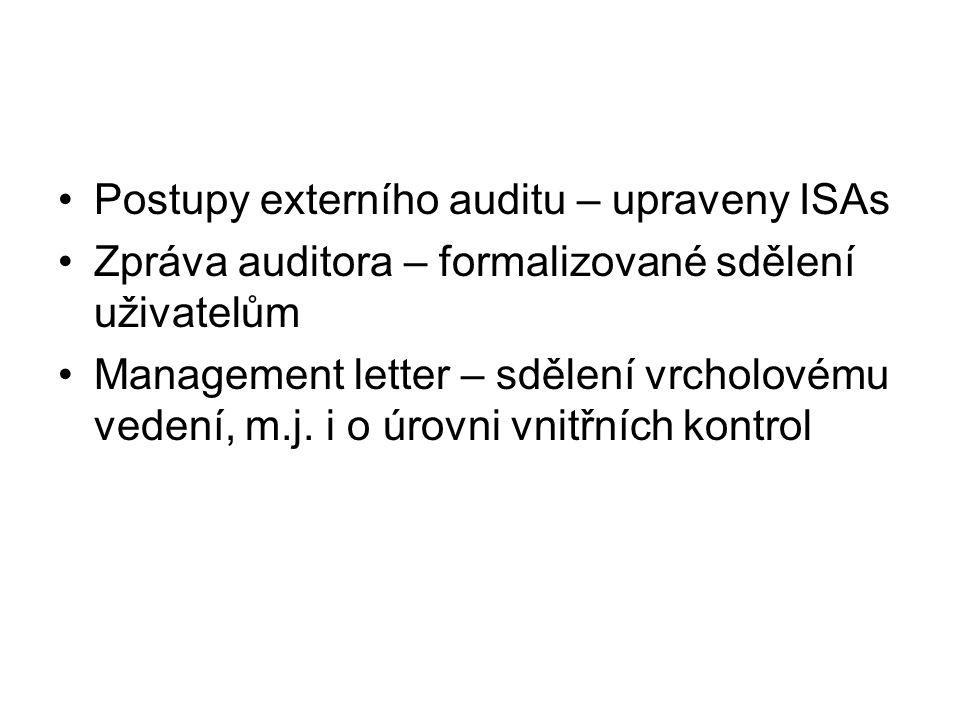 Postupy externího auditu – upraveny ISAs