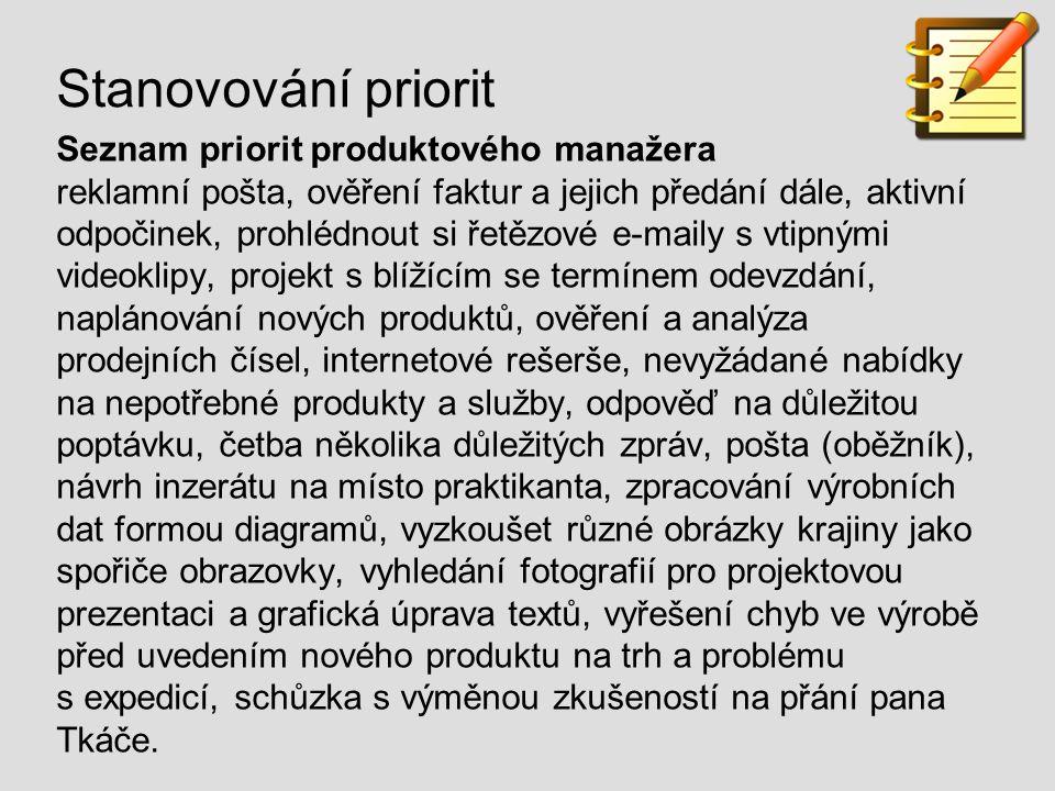 Stanovování priorit Seznam priorit produktového manažera