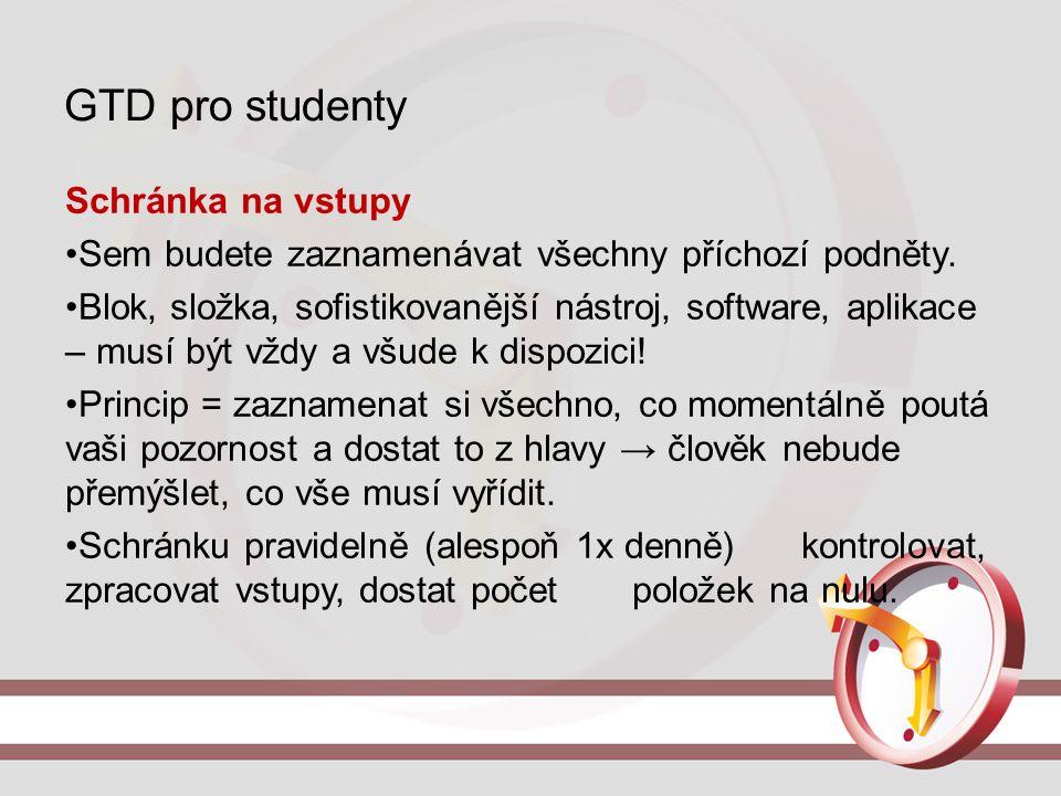 GTD pro studenty Schránka na vstupy