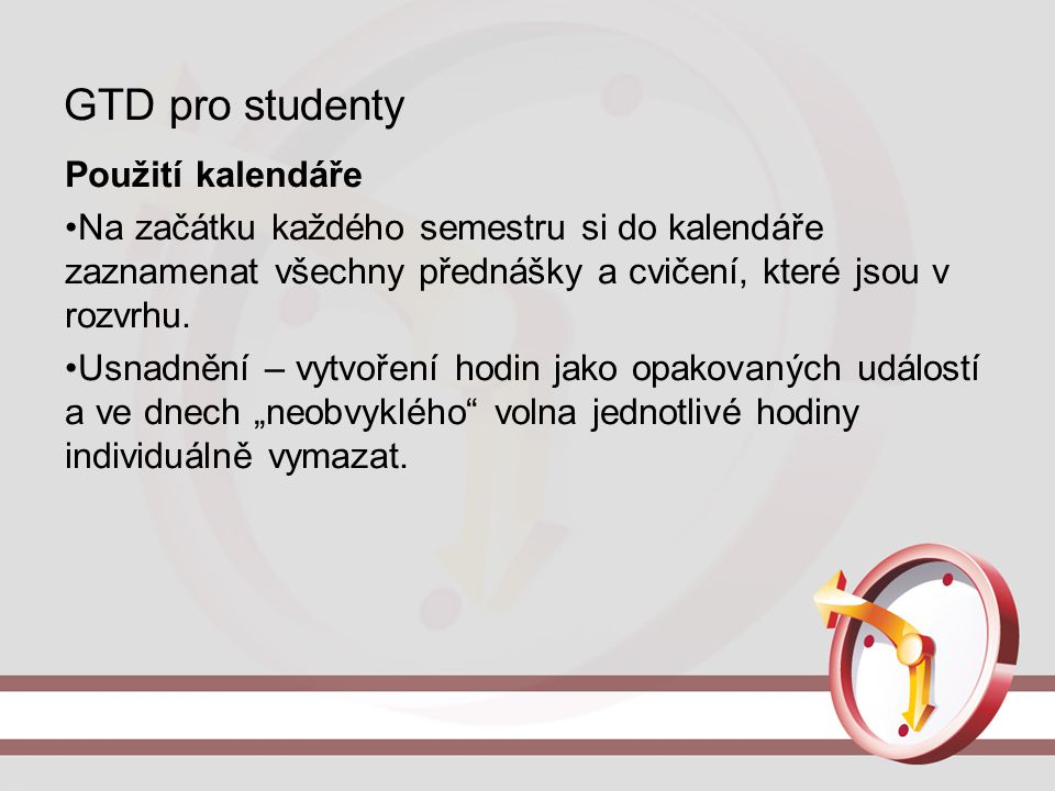 GTD pro studenty Použití kalendáře