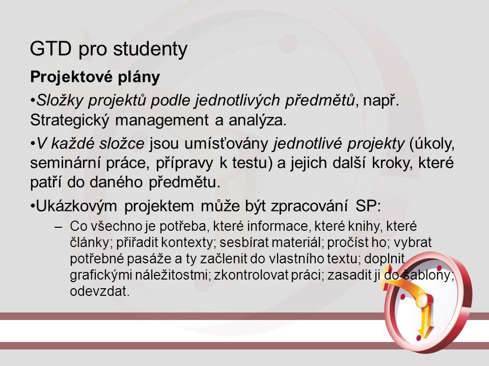 GTD pro studenty Projektové plány