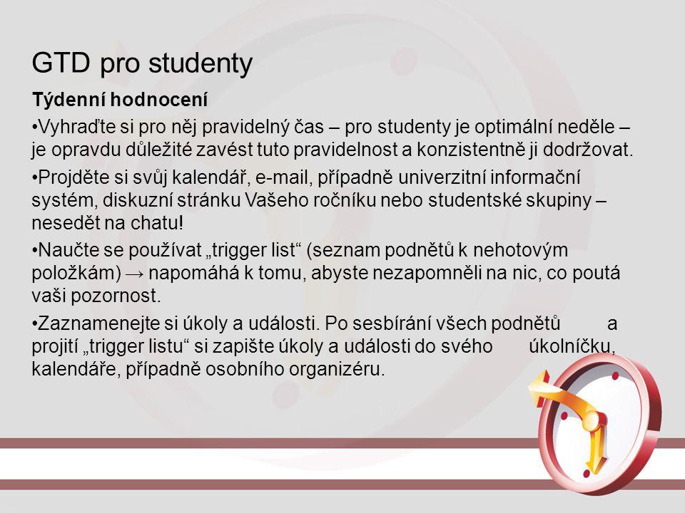 GTD pro studenty Týdenní hodnocení