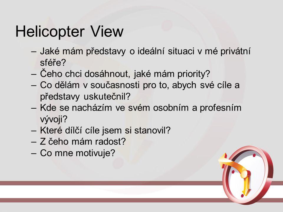 Helicopter View Jaké mám představy o ideální situaci v mé privátní sféře Čeho chci dosáhnout, jaké mám priority