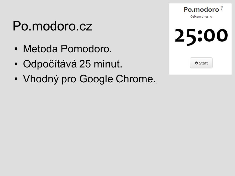 Po.modoro.cz Metoda Pomodoro. Odpočítává 25 minut.