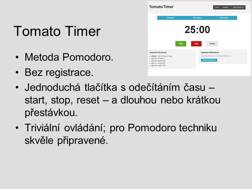 Tomato Timer Metoda Pomodoro. Bez registrace.