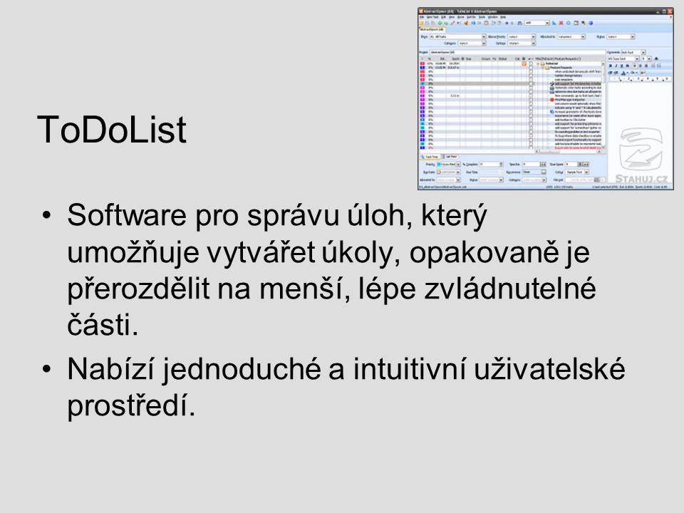 ToDoList Software pro správu úloh, který umožňuje vytvářet úkoly, opakovaně je přerozdělit na menší, lépe zvládnutelné části.