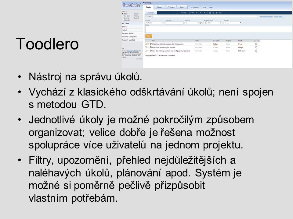 Toodlero Nástroj na správu úkolů.