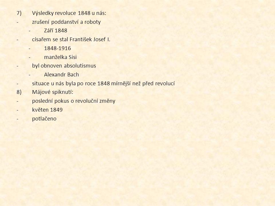Výsledky revoluce 1848 u nás: