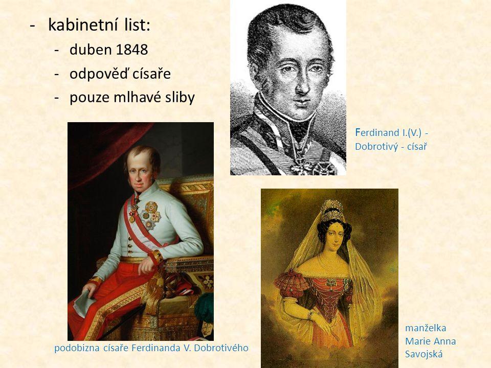 podobizna císaře Ferdinanda V. Dobrotivého