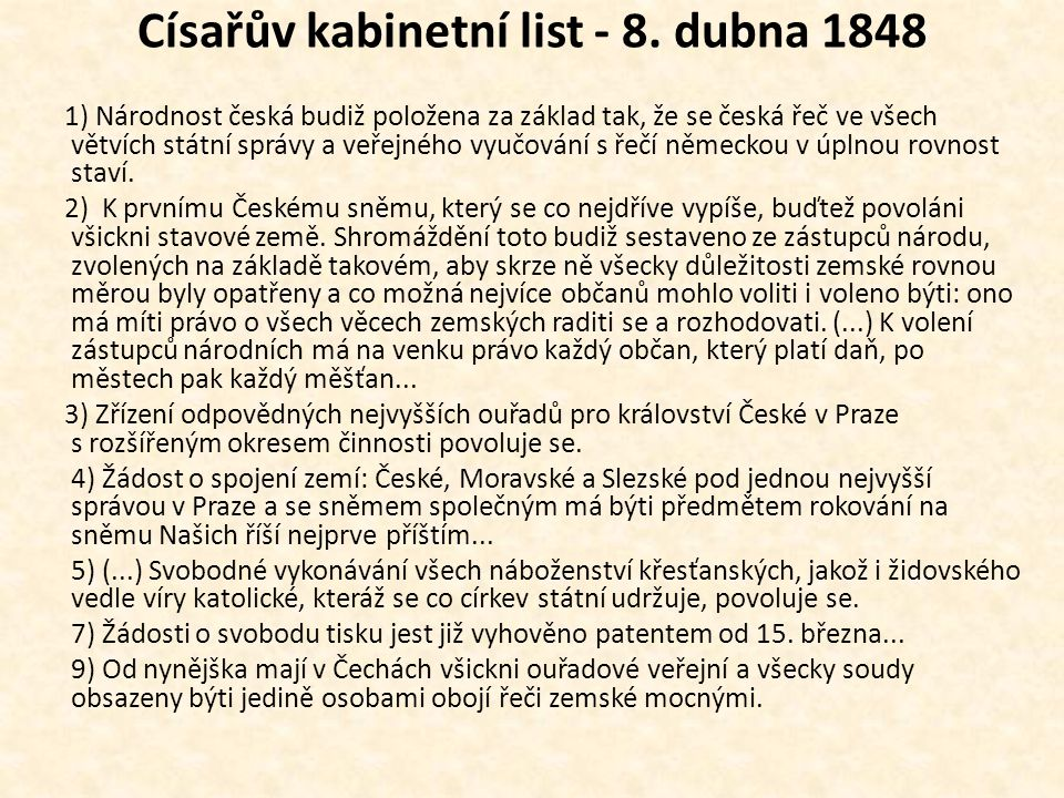 Císařův kabinetní list - 8. dubna 1848