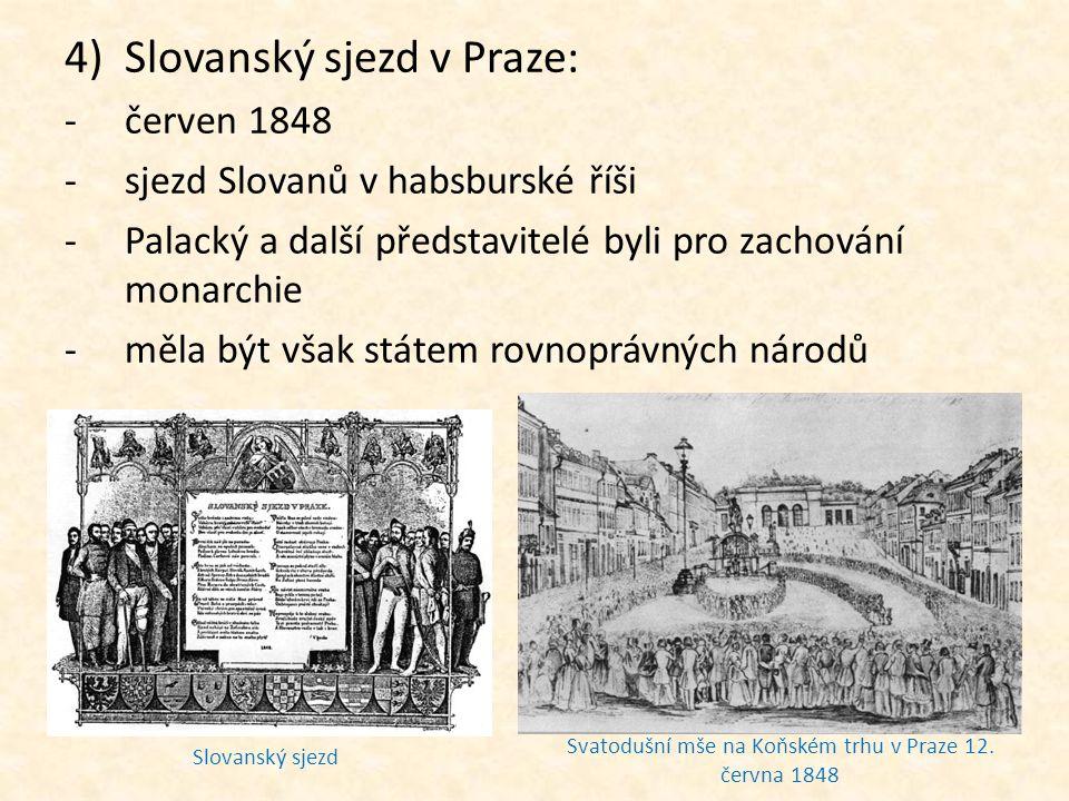 Svatodušní mše na Koňském trhu v Praze 12. června 1848