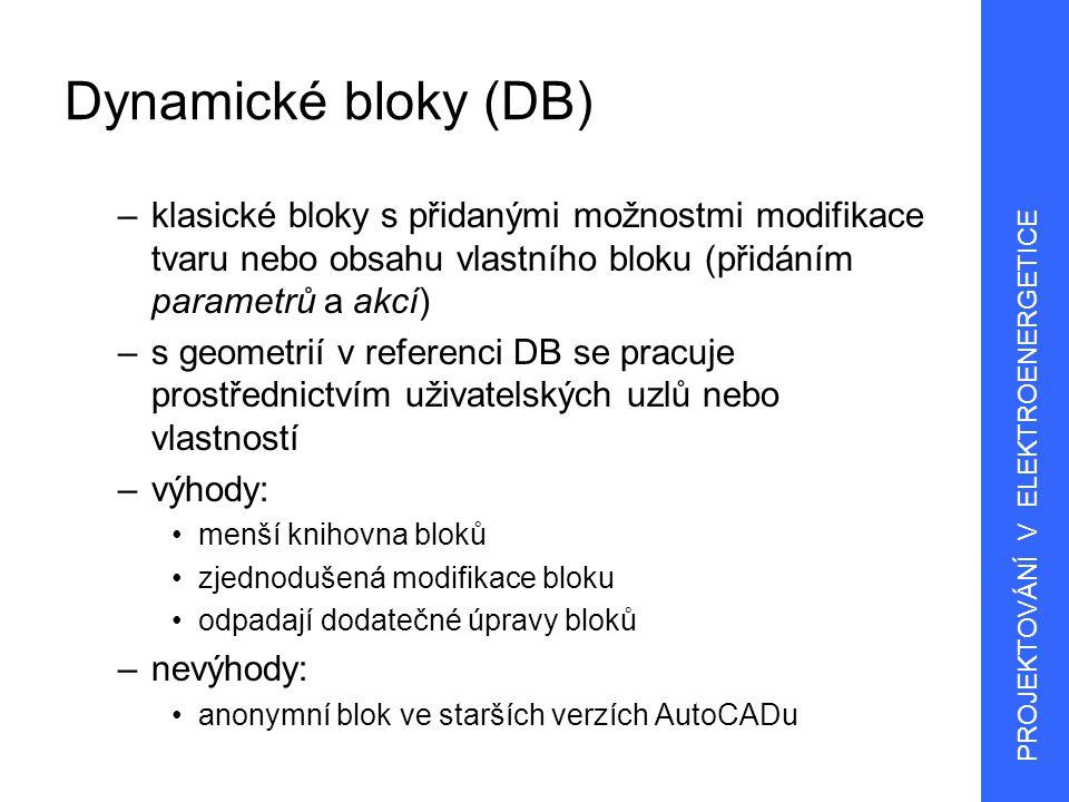 Dynamické bloky (DB) klasické bloky s přidanými možnostmi modifikace tvaru nebo obsahu vlastního bloku (přidáním parametrů a akcí)