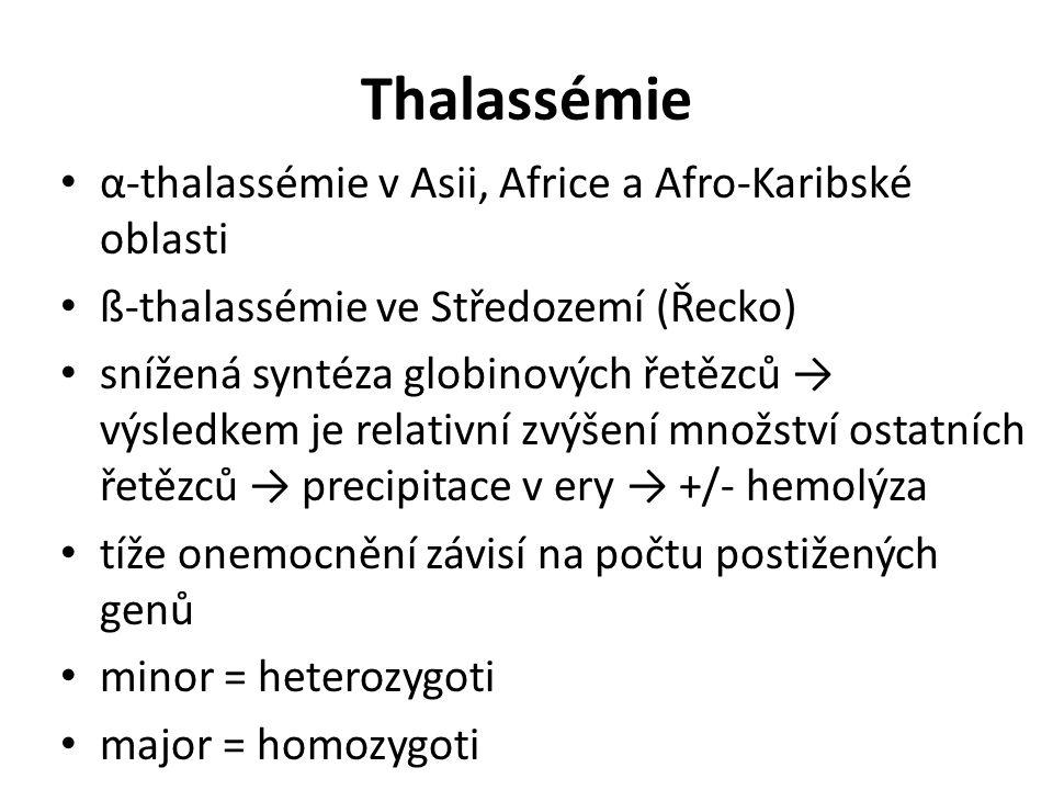 Thalassémie α-thalassémie v Asii, Africe a Afro-Karibské oblasti