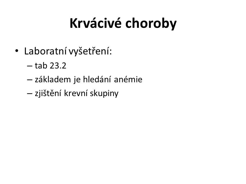 Krvácivé choroby Laboratní vyšetření: tab 23.2