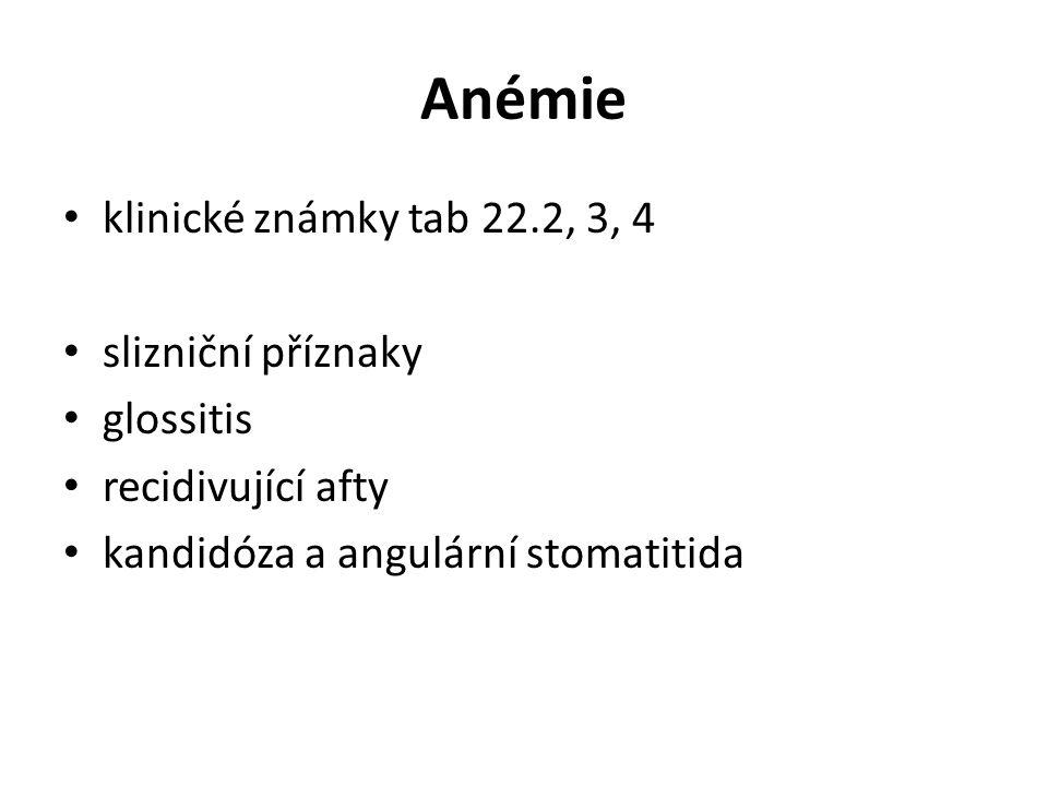 Anémie klinické známky tab 22.2, 3, 4 slizniční příznaky glossitis