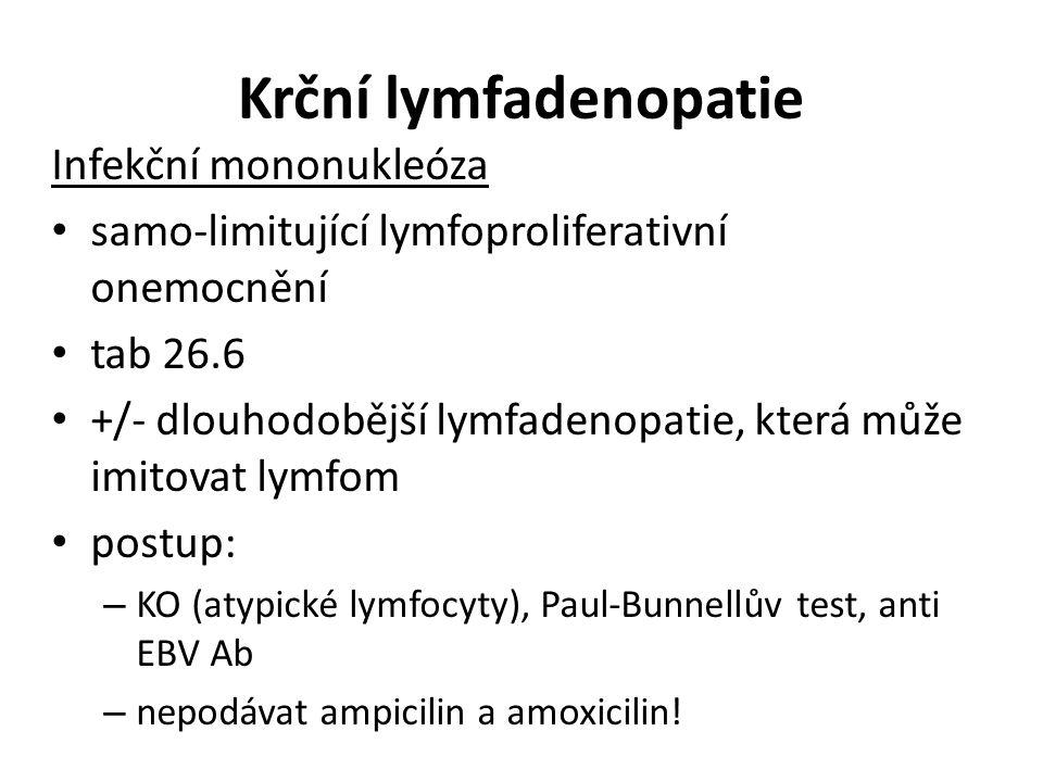 Krční lymfadenopatie Infekční mononukleóza