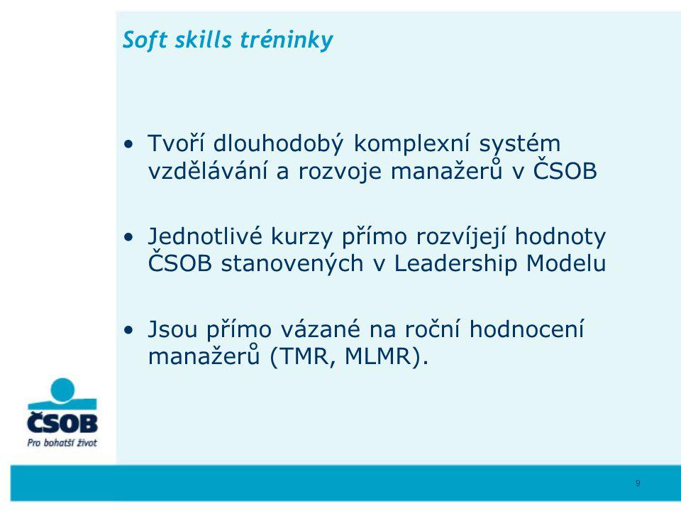 Soft skills tréninky • Tvoří dlouhodobý komplexní systém vzdělávání a rozvoje manažerů v ČSOB.