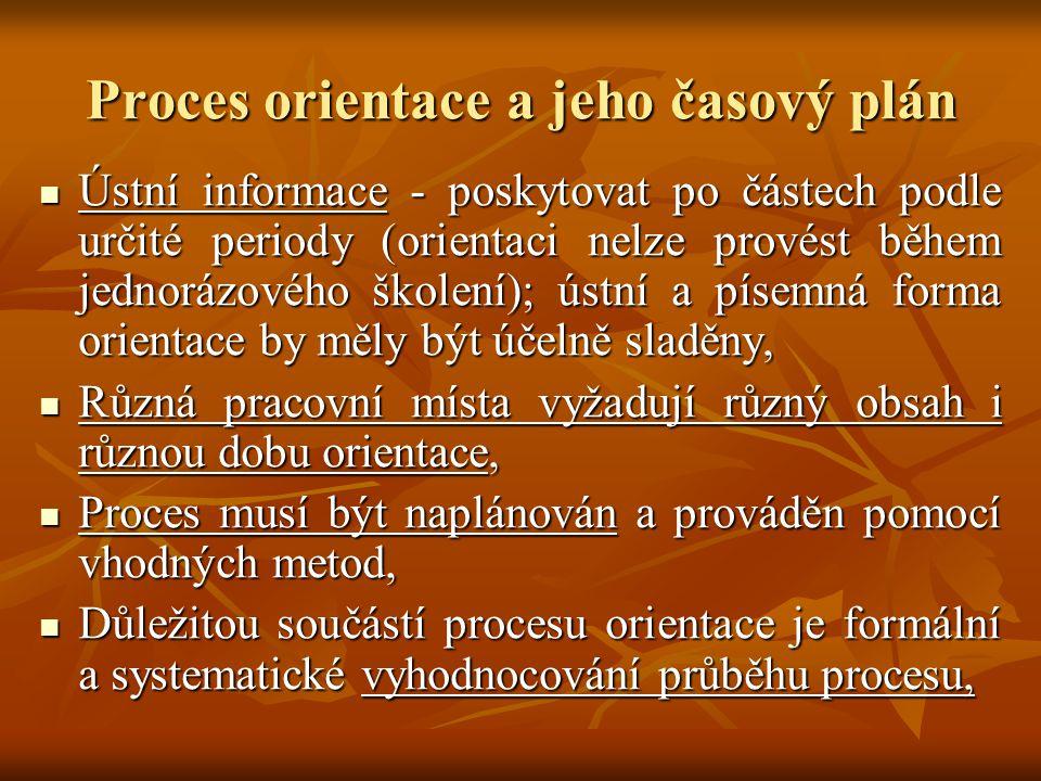 Proces orientace a jeho časový plán
