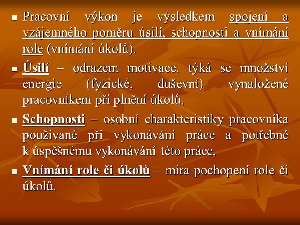 Pracovní výkon je výsledkem spojení a vzájemného poměru úsilí, schopnosti a vnímání role (vnímání úkolů).