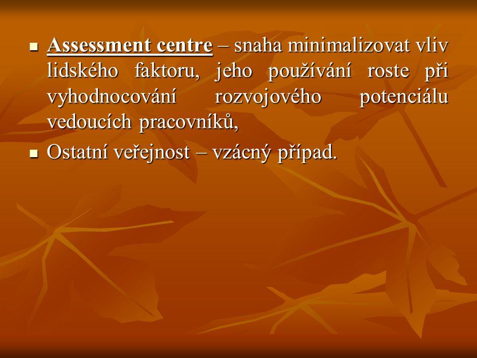 Assessment centre – snaha minimalizovat vliv lidského faktoru, jeho používání roste při vyhodnocování rozvojového potenciálu vedoucích pracovníků,