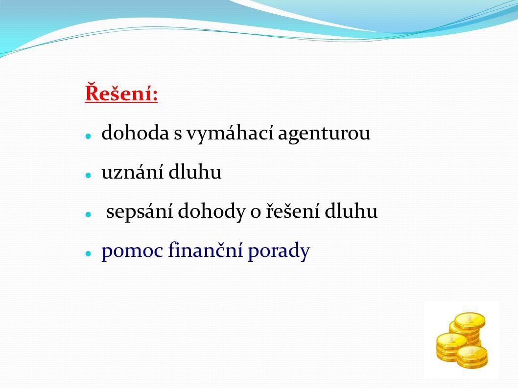 Řešení: dohoda s vymáhací agenturou. uznání dluhu.