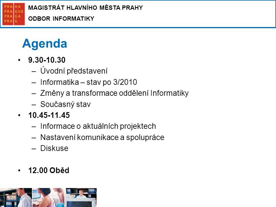 Agenda 9.30-10.30 Úvodní představení Informatika – stav po 3/2010