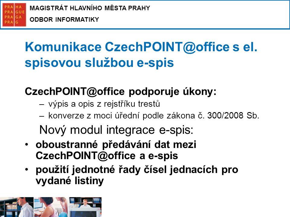 Komunikace CzechPOINT@office s el. spisovou službou e-spis