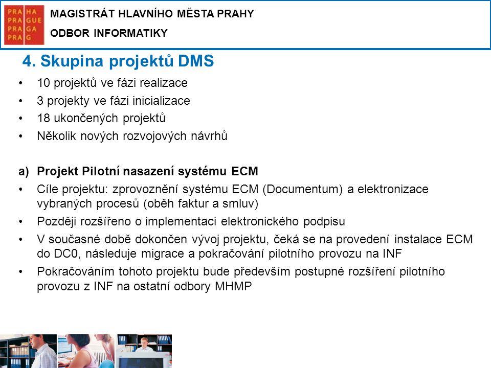 4. Skupina projektů DMS 10 projektů ve fázi realizace