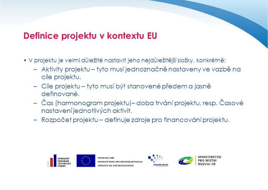 Definice projektu v kontextu EU